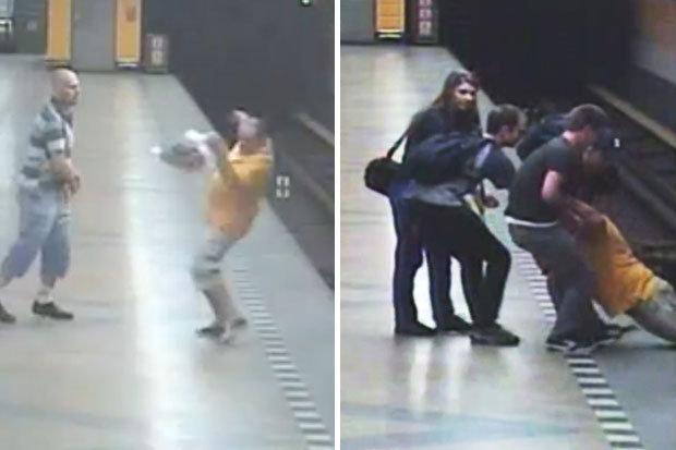 สุดช็อก! คลิปคนร้ายผลักเหยื่อตกรางรถไฟใต้ดิน ก่อนเดินหนี ไม่สะทกสะท้าน