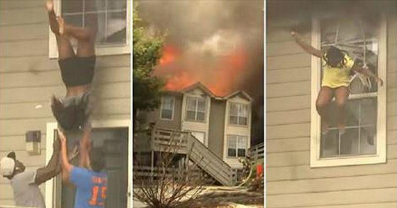 คลิปเฉียดตาย เมื่อเด็กสาวทุบ-โดดหน้าต่าง หนีไฟไหม้