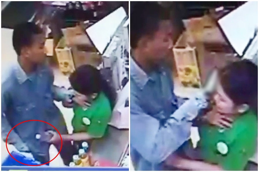 เปิดคลิปนาที หนุ่มบุกเดี่ยวมีดจี้คอปล้นร้านสะดวกซื้อ ก่อนฉกโทรศัพท์หนี